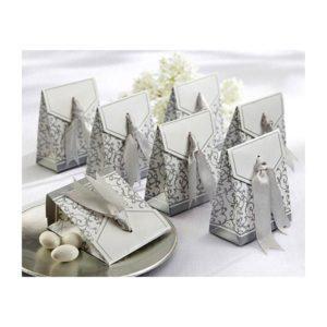 Festivat-caja anversario lazo plata-cajita para dar detalles boda