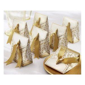 Festivat-caja aniversario lazo oro-cajita para regalo boda
