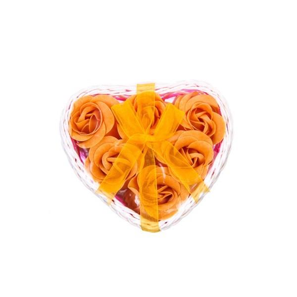 Festivat-cestitat corazon 6 flores-cesta flores jabon-cesta jabon corazon