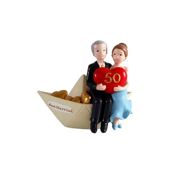 Festivat-figura pastel 50 barco-figura bodas oro barco-figura boda de oro