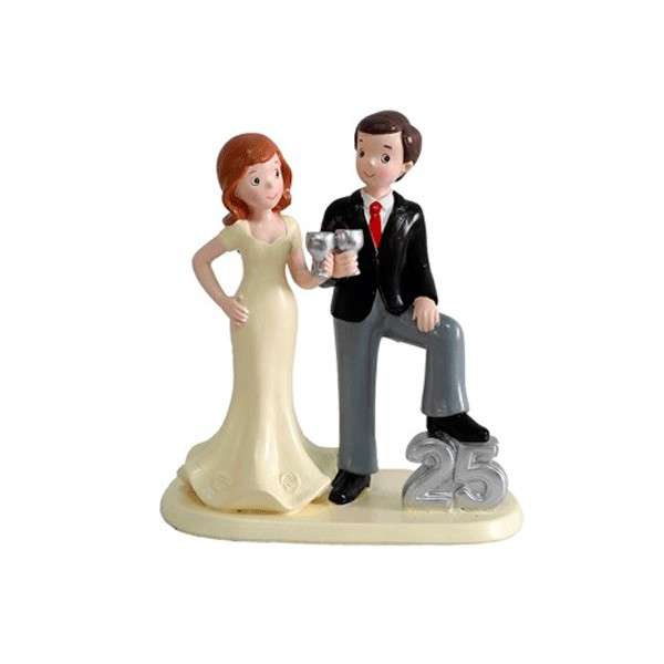Festivat-figura pastel 25 copas-figura bodas plata-figura pastel boda plata