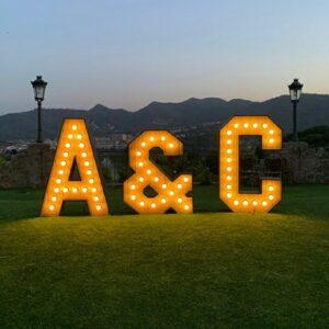 Letras luminosas para bodas